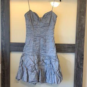Nicole Miller Ruffle Dress size 10. Blue/Silver